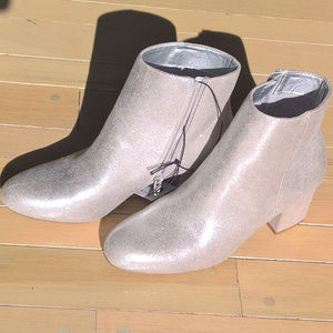 NWT Silver Glitter Ankle Boots